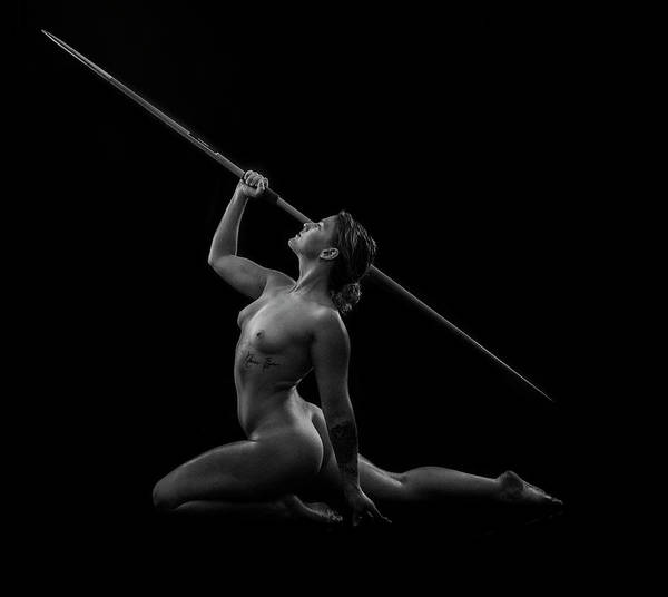 Javelin Photograph - Naked Female Athlete Kneeling by Panoramic Images