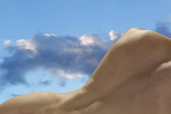 Naked Photograph - Naked Male Back Against Cloudy Sky by Jonathan Knowles