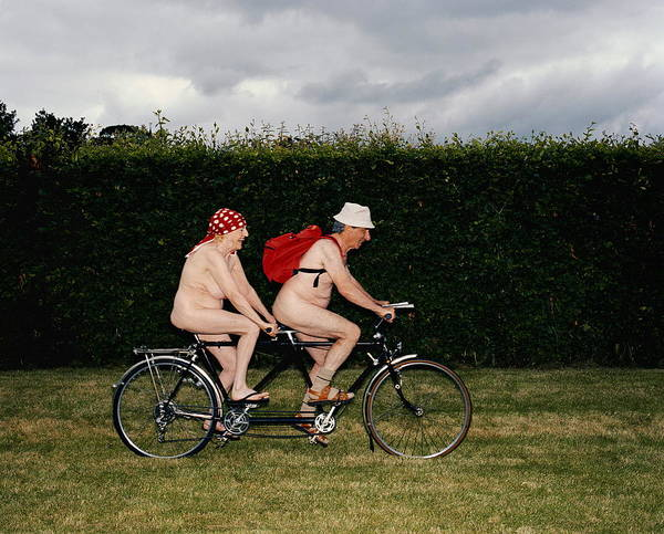Freedom Photograph - Naked Mature Couple Riding Tandem by Chris Craymer