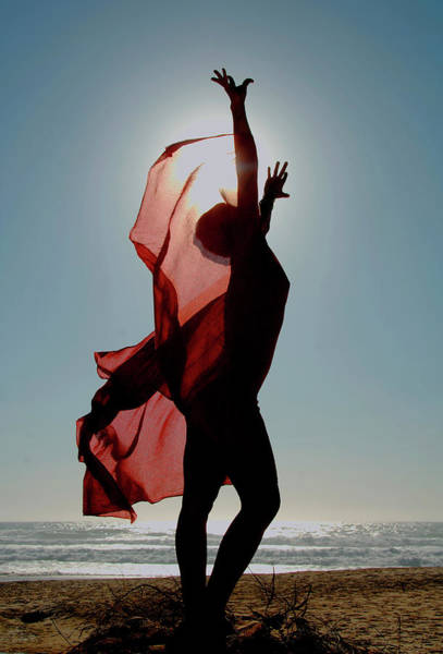 Material Photograph - Naked Woman Dancing With Red Material by Barnaby Hall