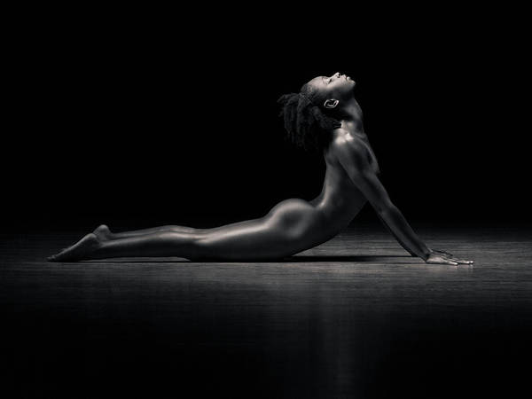 Wall Art - Photograph - Naked Woman Performing Cobra Pose B&w by Mike Powell