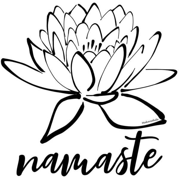 Serenity Prayer Digital Art - Namaste Lotus Calligraphy by Lea Hollingsworth