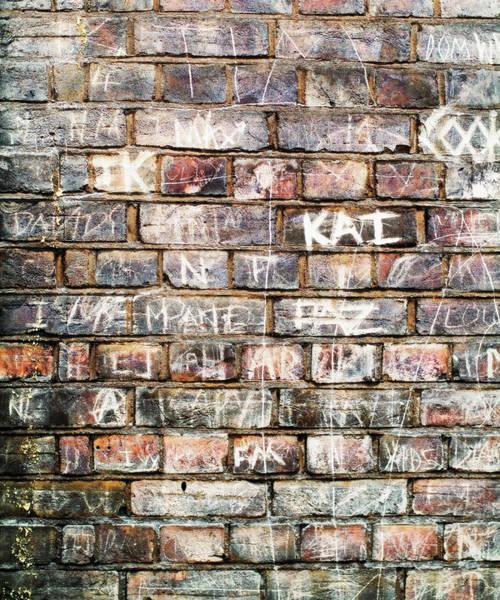 Art Object Photograph - Names On A Brickwall, Handwritten Like by Marcoventuriniautieri
