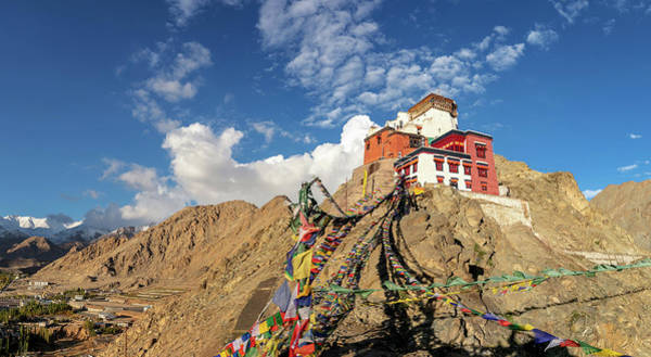 Wall Art - Photograph - Namgyal Tsemo Gompa Overlooking Leh Ladakh Kashmir India by imageBROKER - Kim Petersen