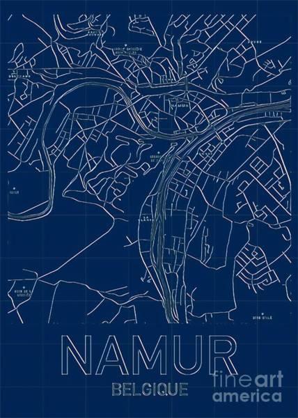 Digital Art - Namur Blueprint City Map by Helge