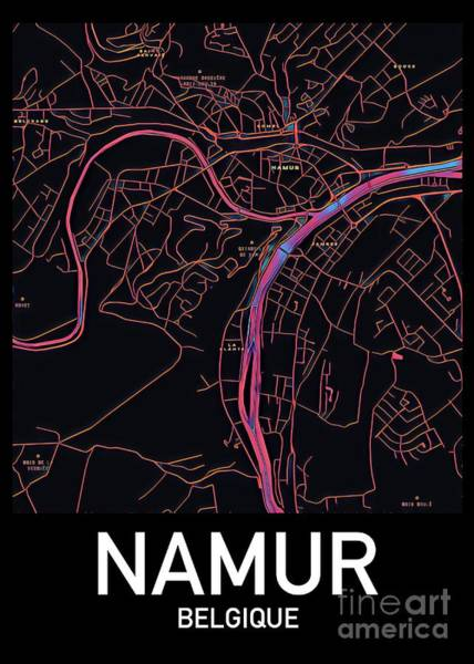 Digital Art - Namur City Map by Helge