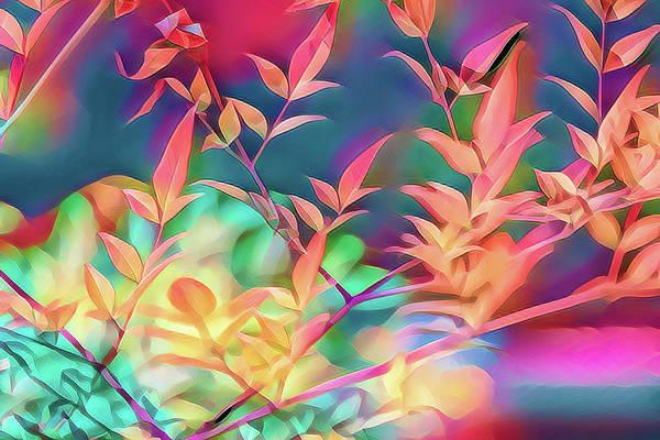 Shrub Mixed Media - Nandina Leaves Artistic 1 by Linda Brody