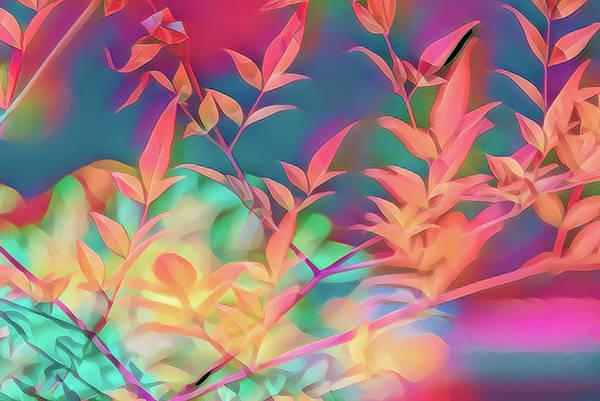 Shrub Mixed Media - Nandina Leaves Artistic 2 by Linda Brody