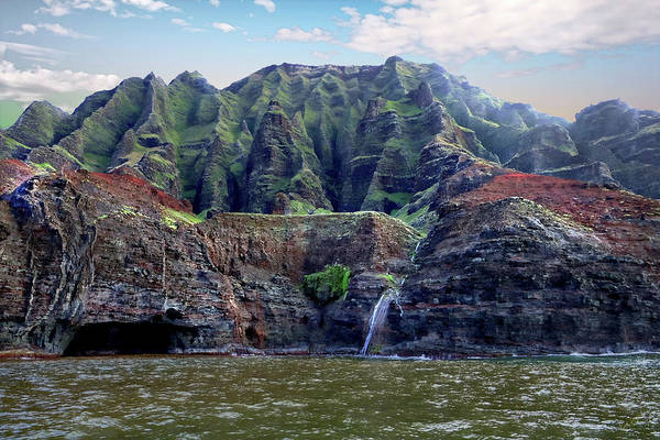 Photograph - Napali Cave And Waterfall by Rick Lawler