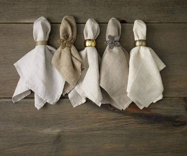 Napkin Photograph - Napkins With Napkin Rings by Mark Lund