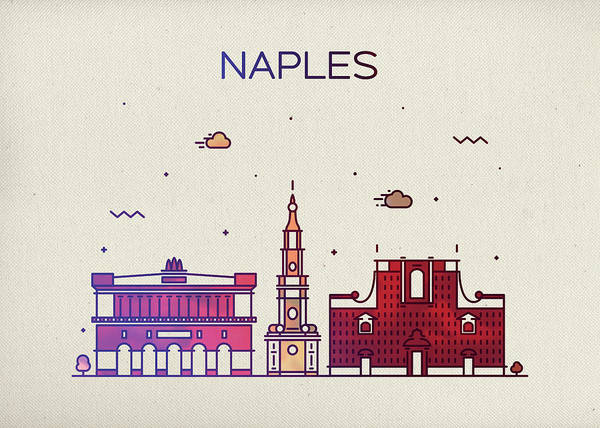 Wall Art - Mixed Media - Naples Florida City Skyline Whimsical Fun Wide Bright by Design Turnpike