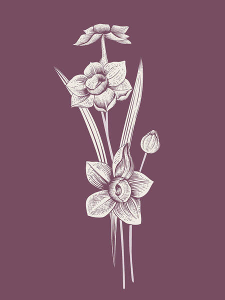 Bouquet Mixed Media - Narcissus Purple Flower by Naxart Studio