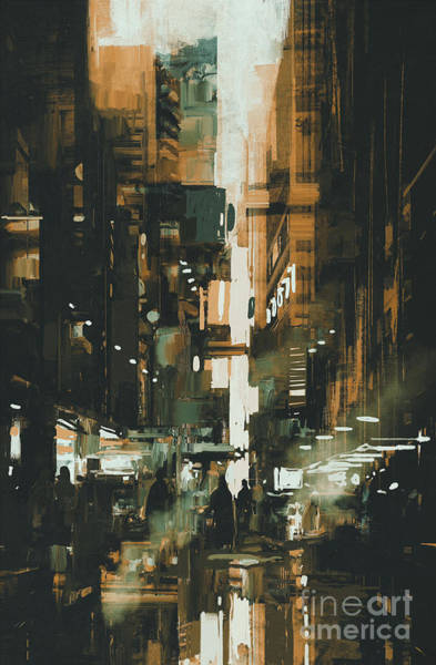 Scenery Digital Art - Narrow Alley In Dark City,illustration by Tithi Luadthong