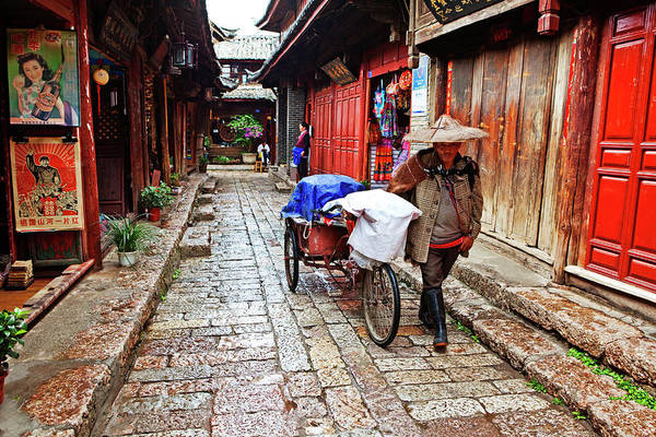 Headwear Photograph - Narrow Streets Of Old Town With Naxi by John W Banagan