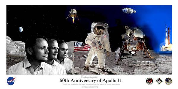 Painting - Nasa 50th Anniversary Of The Apollo 11 Lunar Landing By Artist Todd Krasovetz by Todd Krasovetz