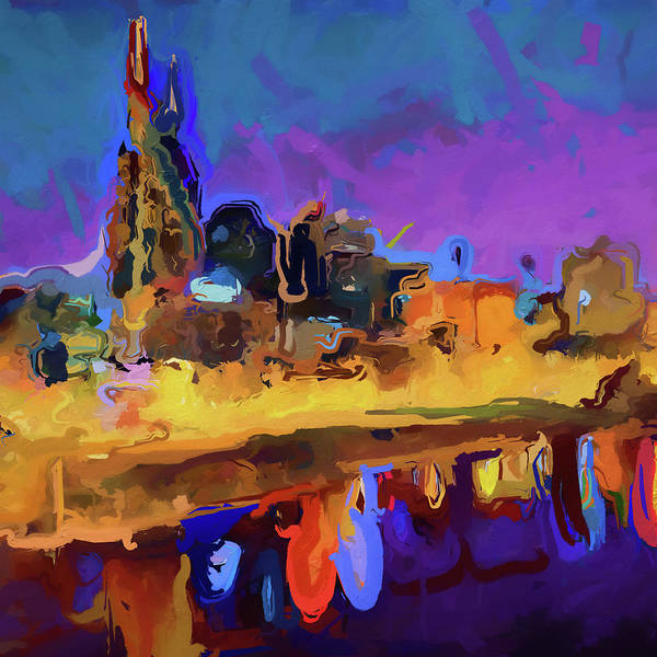 Wall Art - Painting - Nashville Abstract Skyline by Dan Sproul