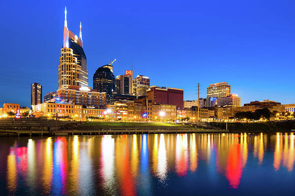 Photograph - Nashville Blue Hour Skyline - Cumberland River Tennessee Art by Gregory Ballos