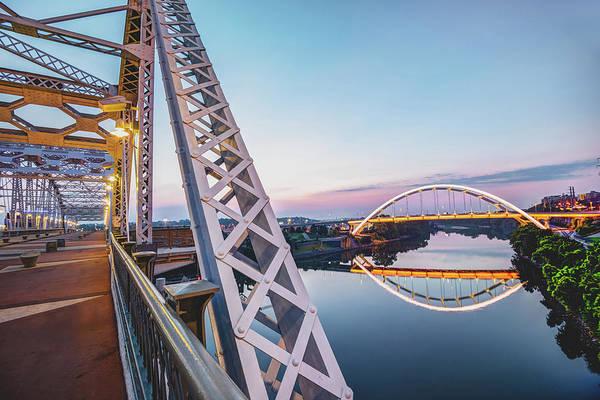 Photograph - Nashville Korean Veterans Memorial Bridge From Pedestrian Bridge by Gregory Ballos