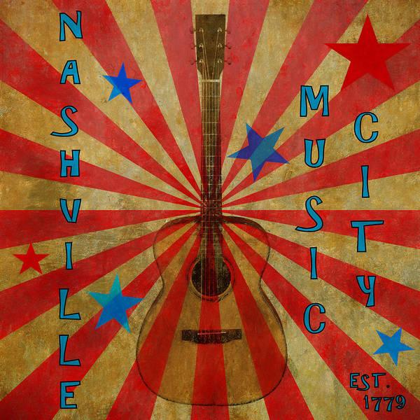 Wall Art - Mixed Media - Nashville Music City Retro by Dan Sproul