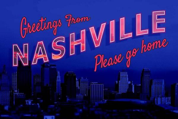 Digital Art - Nashville Postcard by Emily Warren