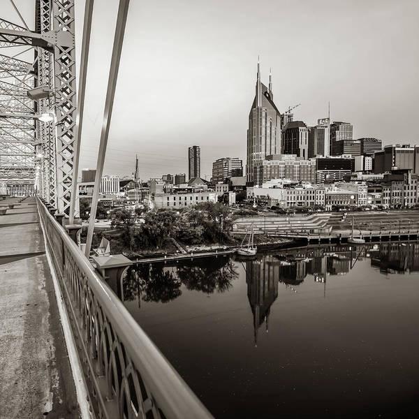 Photograph - Nashville Sepia Skyline From The Pedestrian Bridge by Gregory Ballos