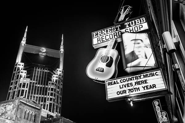 Photograph - Nashville Skyline And Broadway Neon Lights - Bw Monochrome by Gregory Ballos
