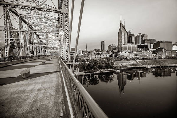 Photograph - Nashville Skyline And Pedestrian Bridge In Sepia by Gregory Ballos