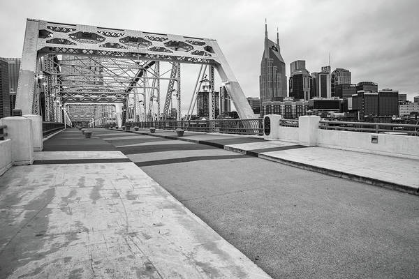Wall Art - Photograph - Nashville Skyline And Pedestrian Bridge - Monochrome by Gregory Ballos