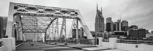 Wall Art - Photograph - Nashville Skyline And Pedestrian Bridge Panorama - Monochrome by Gregory Ballos