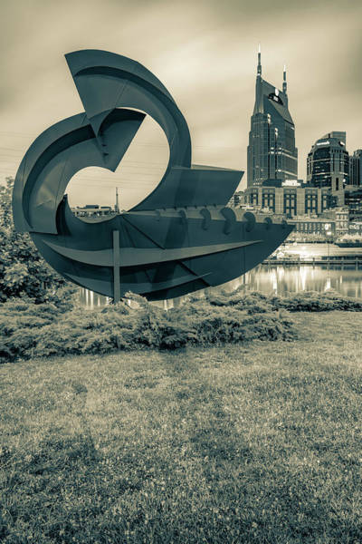 Wall Art - Photograph - Nashville Skyline And Sculpture From East Bank Greenway - Sepia by Gregory Ballos