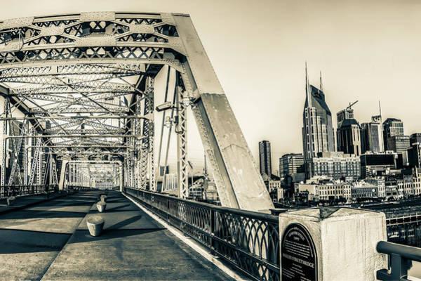 Photograph - Nashville Skyline And Shelby Street - John Seigenthaler Pedestrian Bridge - Sepia by Gregory Ballos