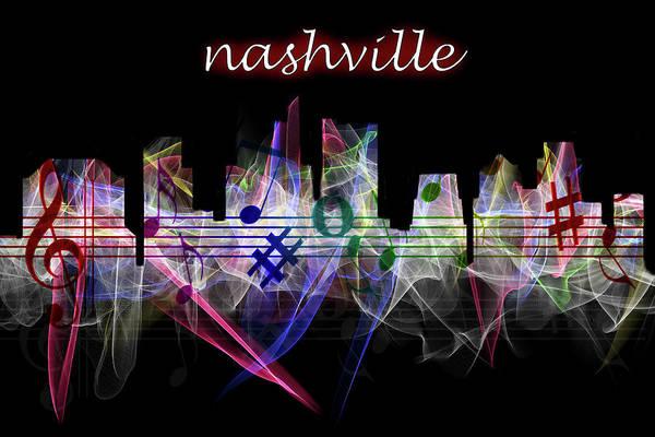 Photograph - Nashville Skyline Art With Script by Debra and Dave Vanderlaan