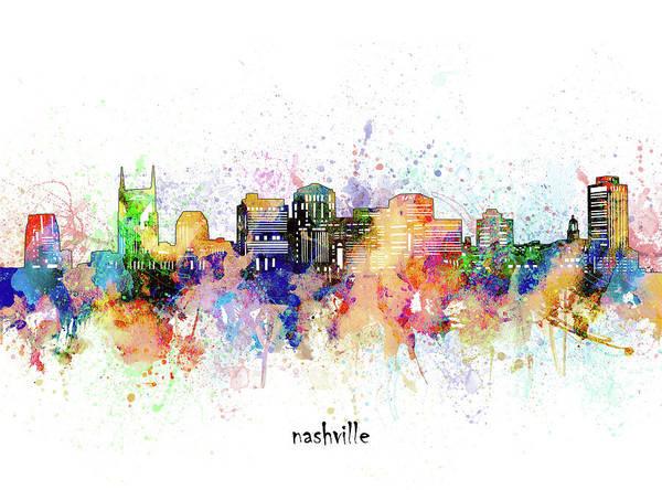 Wall Art - Digital Art - Nashville Skyline Artistic by Bekim M