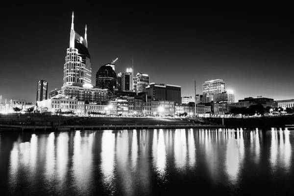 Photograph - Nashville Skyline Dark Monochrome by Gregory Ballos