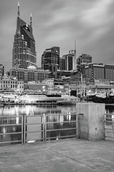 Wall Art - Photograph - Nashville Skyline From Cumberland River Dock - Bw Monochrome by Gregory Ballos