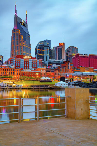 Wall Art - Photograph - Nashville Skyline From Cumberland River Dock by Gregory Ballos