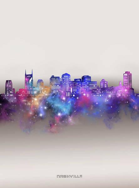 Wall Art - Digital Art - Nashville Skyline Galaxy by Bekim M