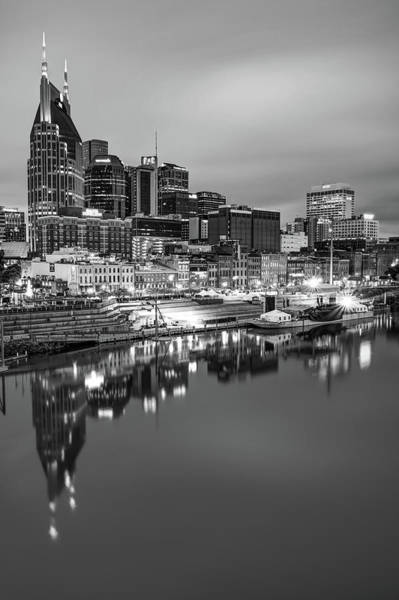 Photograph - Nashville Skyline On The Cumberland River - Monochrome Edition by Gregory Ballos