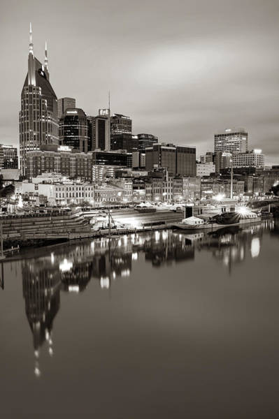 Photograph - Nashville Skyline On The Cumberland River - Sepia Edition by Gregory Ballos
