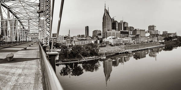 Photograph - Nashville Skyline Panorama From The John Seigenthaler Pedestrian Bridge - Classic Sepia by Gregory Ballos