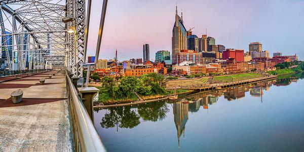 Photograph - Nashville Skyline Panorama From The John Seigenthaler Pedestrian Bridge by Gregory Ballos