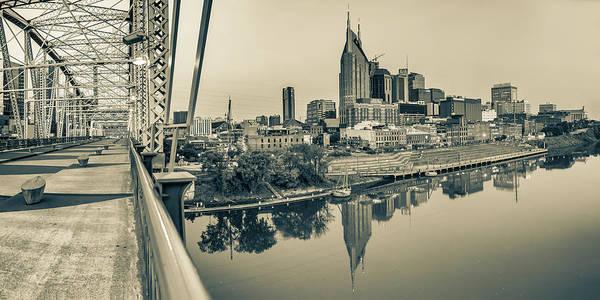 Photograph - Nashville Skyline Panorama From The John Seigenthaler Pedestrian Bridge - Sepia by Gregory Ballos