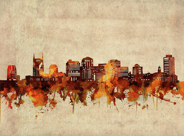 Wall Art - Digital Art - Nashville Skyline Sepia by Bekim M