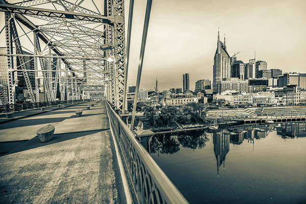Photograph - Nashville Skyline - Shelby Street Bridge View In Sepia by Gregory Ballos