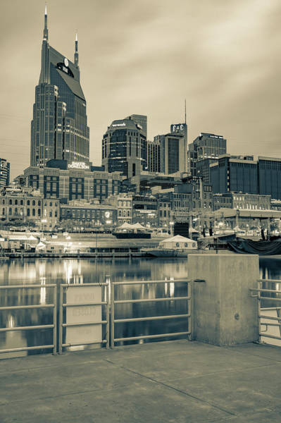 Wall Art - Photograph - Nashville Tennessee From The Docks Of The East Bank In Sepia by Gregory Ballos