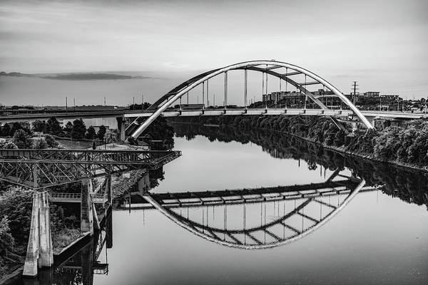 Photograph - Nashville Tennessee Korean War Veterans Bridge At Dawn - Monochrome by Gregory Ballos