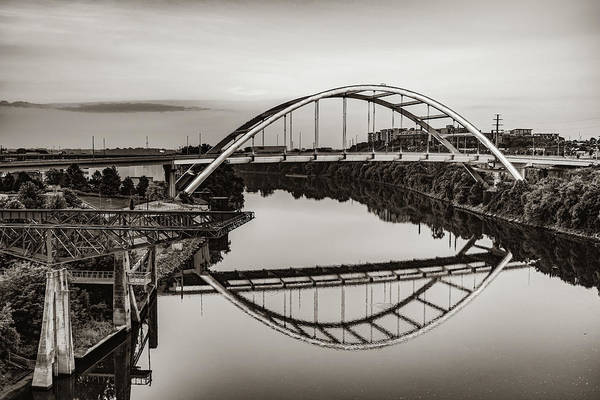 Photograph - Nashville Tennessee Korean War Veterans Bridge At Dawn - Sepia by Gregory Ballos