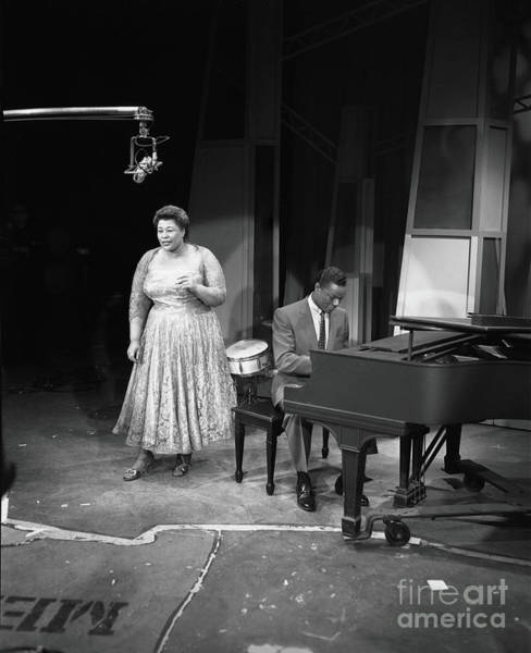 Photograph - Nat King Cole Performs With Ella by Cbs Photo Archive