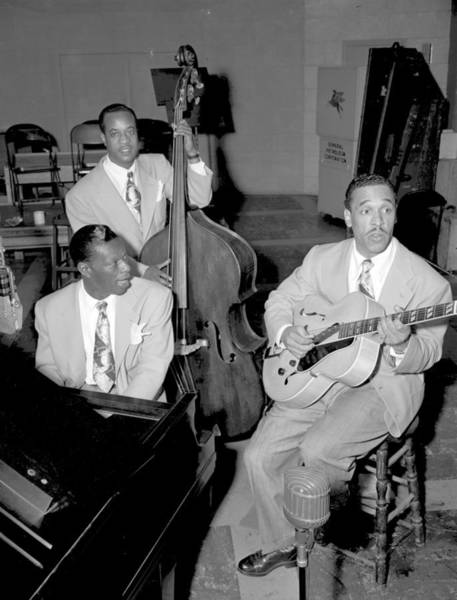 Guitarist Photograph - Nat King Cole Trio Recording by Michael Ochs Archives