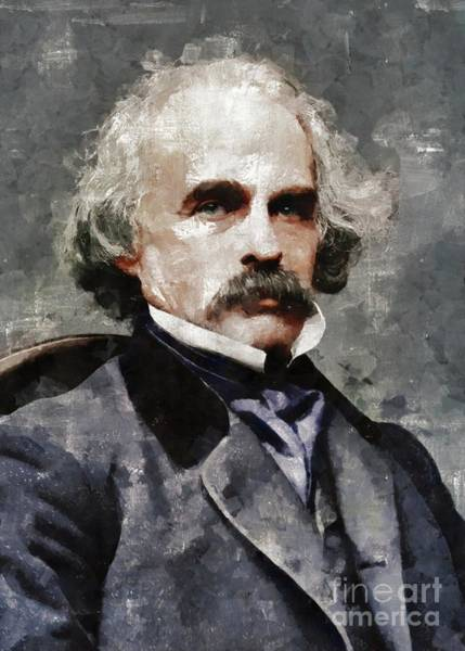 Wall Art - Painting - Nathaniel Hawthorne, Author by Mary Bassett